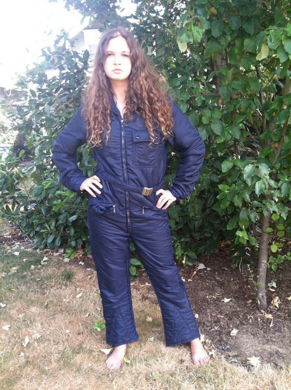 Womens Snow Suit One Piece >> 1980s Womens One Piece Snow Suit Navy Blue Size S or M
