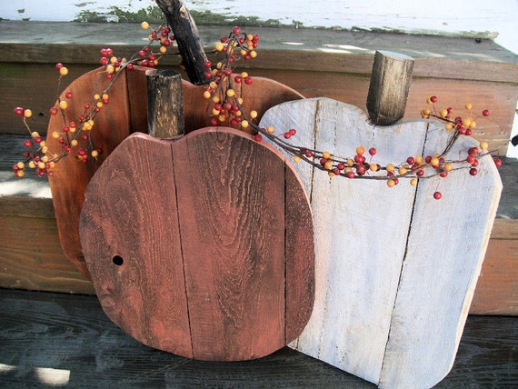 Rustic Pallet Wood pumpkin set fall porch entryway home decor in orange and white