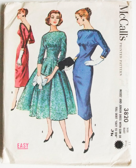 50's McCall's 3820 - Slim or Wide Skirted Dress with Kimono Sleeve Bodice, V Back - Size 11 - Bust 31.5