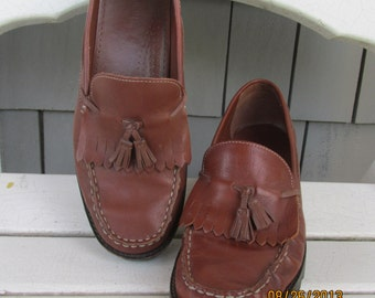 Vintage Brown Preppy Fringed Tasseled Loafers Women's Size 8 M by Connie