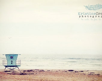 Ocean, Pacific Ocean, Waves, Life Gaurd Tower, Surfing, California, Summer, Vintage Style, Photographic Print, Kristine Cramer  Photography