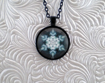Black and white abstract kaleidoscope pendant necklace