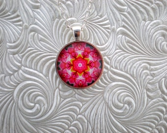 Two tone pink pendant necklace, Abstract pendant necklace