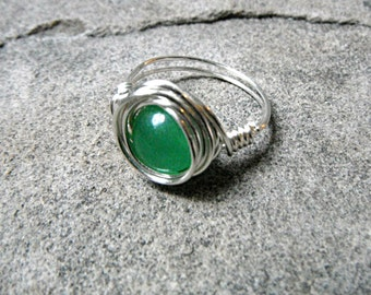 Green Jade Ring, Wire Wrapped Ring, Jade Stone Ring, Jade Wire Wrapped Ring, Wire Wrapped Jewelry Handmade, Green Ring, Green Stone Ring