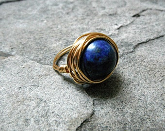 Copper Lapis Lazuli Ring, Blue Stone Ring, Wire Wrapped Ring, Blue Ring, Wire Wrapped Jewelry Handmade, Gemstone Ring, Chunky Ring