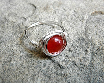 Cherry Red Jade Ring, Wire Wrapped Ring, Jade Stone Ring, Jade Wire Wrapped Ring, Wire Wrapped Jewelry Handmade, Silver Ring