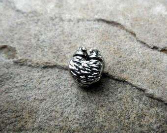 Silver Bird Charm, Birds Nest Charm, Silver Heart Charm, Bird Jewelry, Bracelet Charm, European Charm Bead, Pugster Charm
