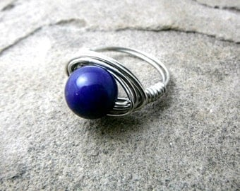 Chunky Blue Ring, Blue Stone Ring, Wire Wrapped Ring, Blue Ring, Wire Wrapped Jewelry Handmade, Gemstone Ring, Chunky Ring, Statement Ring
