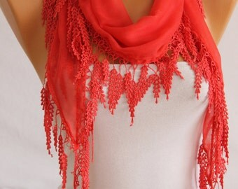 ON SALE Coral Grey Peach Navy Yellow Lace Trim Guipure Edged Cotton Scarf Women's Fashion Accessories Spring Celebrations Gift Ideas For Her