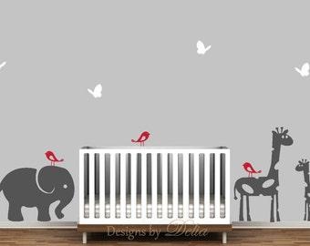 Nursery Wall Decal, Elephant, Giraffe, and Baby Giraffe