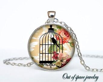 Bird cage necklace Bird cage pendant Bird cage jewelry