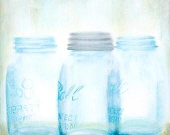 Ball Jar painting, Mason Jars, square painting, small painting, farmhouse decor, vintage decor, Giclee print