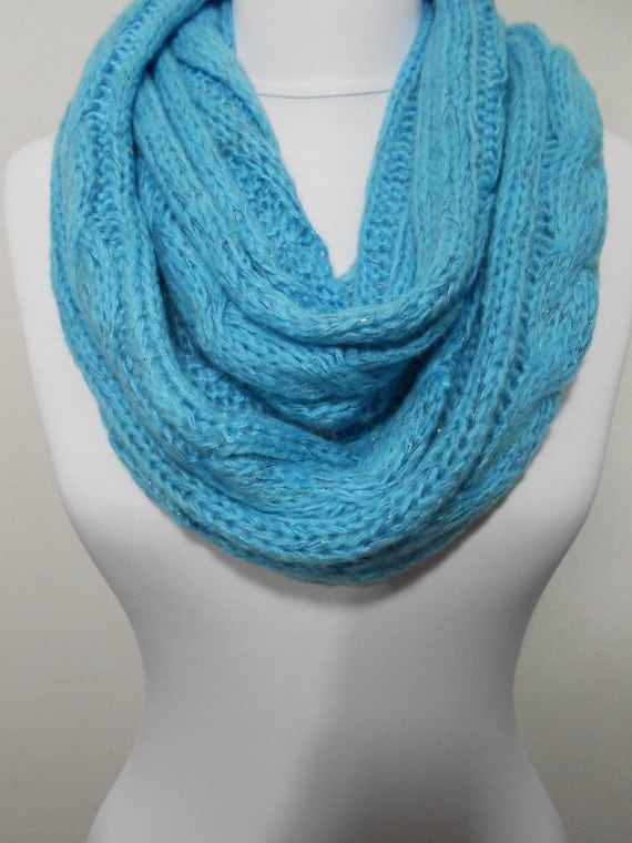 Blue Infinity Scarf Knitted Loop Scarf Warm Circle Scarf