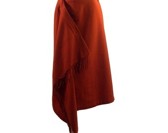 Vintage Comme des Garcons Wool Orange Wrap Skirt 1989