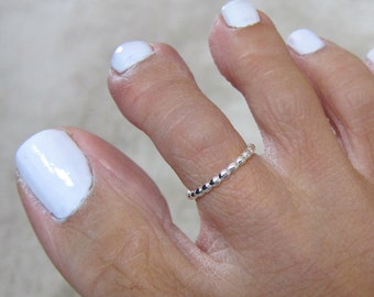 Tiny Sterling Silver Toe Ring , Also Midi Ring, knuckle Ring.