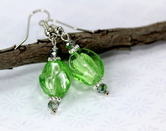 Lampwork Earrings, Green Lampwork Earrings, Green Lampwork Beads, Green Glass Earrings, Green Crystal Earrings, Green Drop Earrings