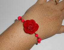 Sparkling Polymer Clay Rose Bracelets, Memory Wire Colorful Wire Wrapped, Red Rose Bracelet, On Sale - was 15.00