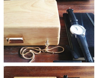 NATURE COLLECTION--Handmade Minimalism Wooden Clutch Box with chain