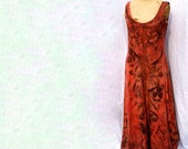 Long cotton dress eco printed with eucalyptus leaves