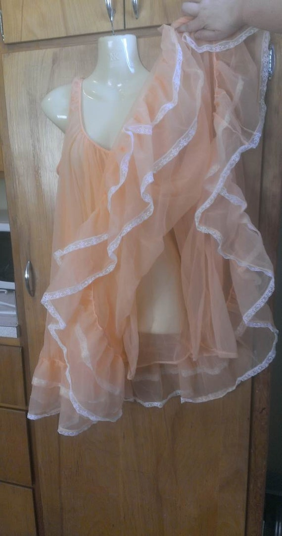 Vintage  Miss Elaine Babydoll Nightie Dual Layers Peach Chiffon with White Lace Fluffy Light Orange Cloud