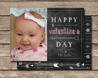 Chalkboard Valentines Day Photo Card | Happy Valentines Day | Arrows | 5x7 Valentines Photo Card | Holiday Card | Digital File Printable