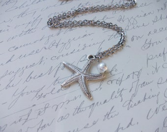 Starfish and pearl necklace