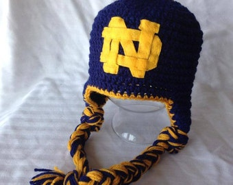 Notre Dame Earflap Hat Newborn-Adult sizes