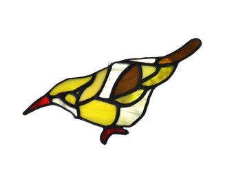 Stained glass bird suncatcher, window ornament, hanging home decor yellow brown green colour