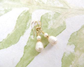 White Freshwater Pearl Earrings, Bridal Earrings, Bridal Jewelry, Gold Filled Earrings, Freshwater Pearls, Pearl Earrings