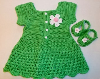 Baby Girl Green Dress & Shoes