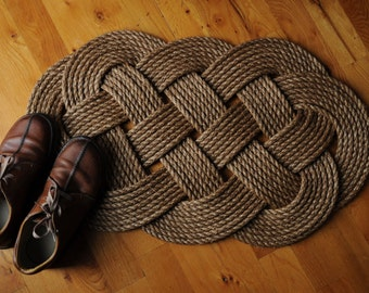 Nautical Rope Rug - Manila Front Door Mat - Nautical Decor - (33 x 20) - Rope Rug