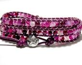 Pink Snakeskin Jasper Wrap Bracelet and Sterling Silver, Pink Leather Wrap Bracelet, Artisan Bracelet, Boho Bracelet