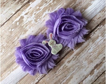 SALE Lavender Shabby Chic Flower Easter Bunny Headband, Baby Headband, Toddler Headband, Girls Headband, Adult Headband, Hair Bow, Purple