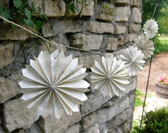 Paper Rosette Pointed Garland-8 ft-Snowflake garland-Pinwheel-Wedding Decor-Wedding Garland-Book Garland-Paper Garland-Hanging Paper Art-