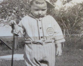 Sweet 1920's Little Boy With Cane Doesn't Want His Picture Took Snapshot Photograph - Free Shipping