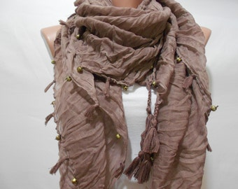 Tassel Scarf Taupe Brown Scarf Shawl with Golden Beads Mother's Day Gift Boho Scarf Women Fashion Accessories Christmas Gift Ideas For Her