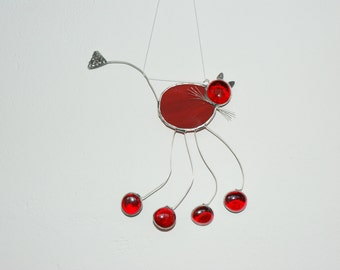 Valentine Day,Suncatcher Red Stained Glass Cat, Ornament,,Heart
