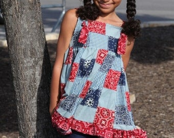 Knot Apron Dress  Blue and Red Handkerchief outfit sizes 2T-8 w/Boutique Bow