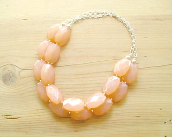 Peach statement  necklace,Coral statement necklace, Chunky peach statement necklace