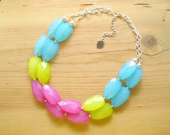 Turquoise Hot pink Neon Green statement necklace, Chunky turquoise pink green necklace
