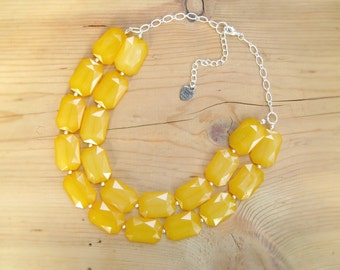 Mustard Yellow Statement necklace, Mustard yellow chunky necklace
