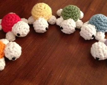 Rainbow Amigurumi Turtles (Set of Six): Made to Order