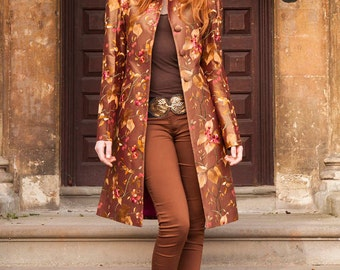 Silk Grace Coat in Burnt Umber