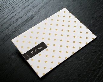 Gold Foil Polka Dot Thank You Card. Letterpress Card.