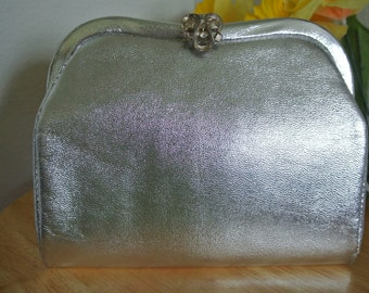 1960s Clutch Metallic Silver Lame Clutch Evening Purse with Ornate Clasp