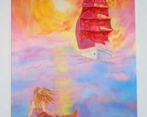 Silk painting Red sails. Painting on silk. Modern batik wall hanging. Original painting. Size 17x25.5 in (44X65 cm).Made to order.