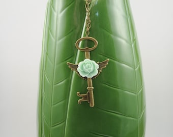 Brass Winged Key and Mint Green Flower Necklace, Steampunk, Bohemian