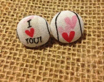 CLEARANCE!  I Love You Button Earring