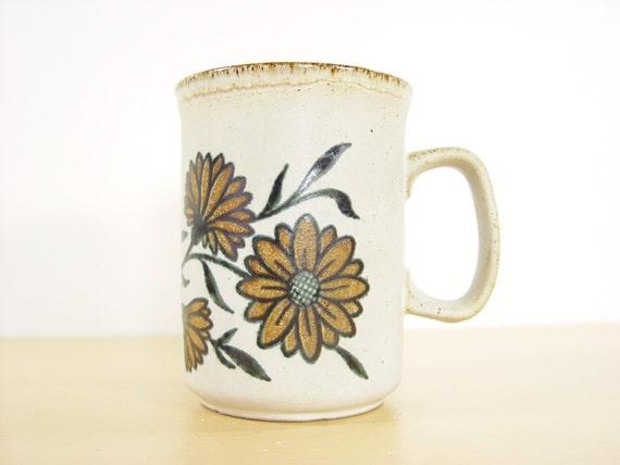 1970s Dunoon Ceramics Flower Mug Made In Scotland