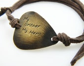Brother Gift, Guitar Pick bracelet, Guitar Pick Jewelry, Hand Stamped Jewelry, Brass or Aluminum, Father's Day Gift
